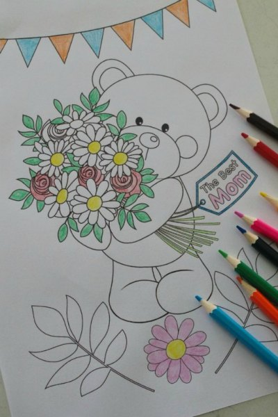 bear mothers day coloring pages