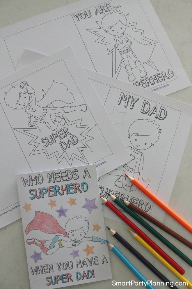 Set of 4 Superhero Fathers day cards
