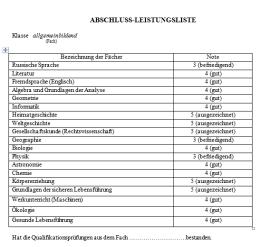 перевод аттестата на немецкий