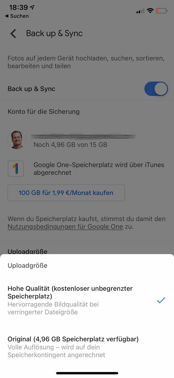 Google Fotos: Optionen für die Qualitätseinstellungen in der App für das iPhone