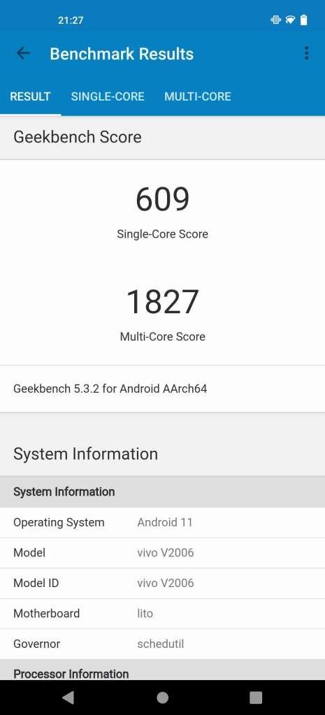 Vivo X51 5G Geekbench