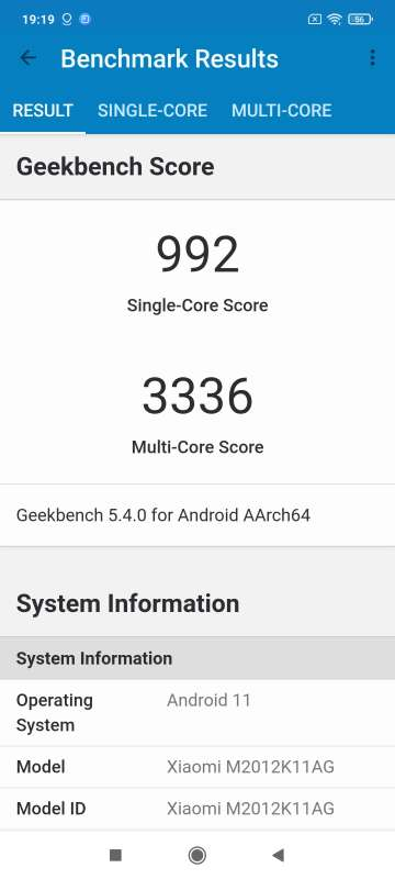 Xiaomi Poco F3 Geekbench