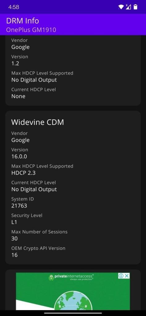 OnePlus 7 Widevine L1