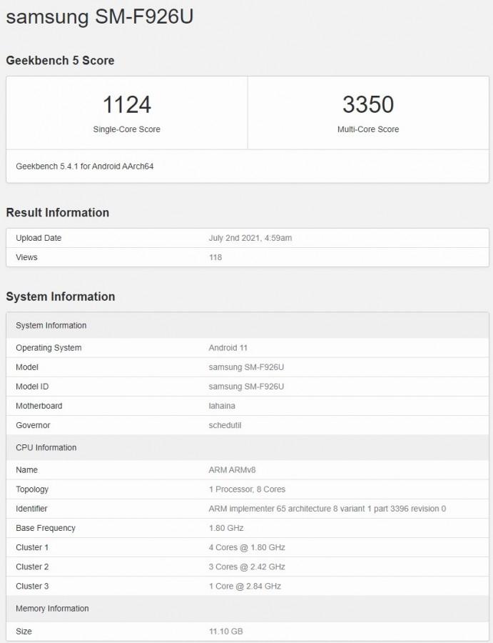 Samsung Galaxy Z Fold3 Geekbench