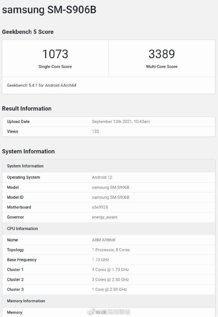 Samsung Galaxy S22 Exynos 2200-Geekbench