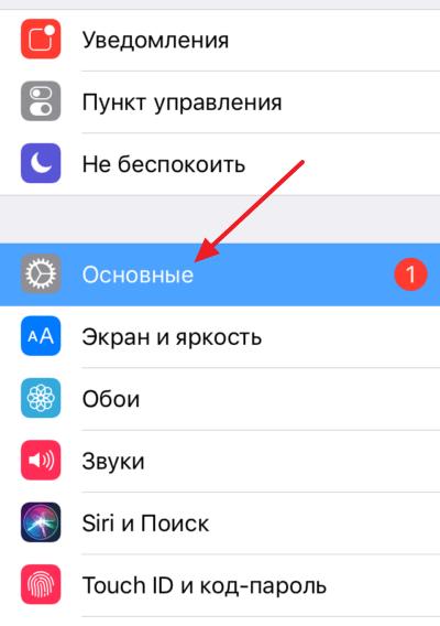 Secțiunea principală în setările iPhone
