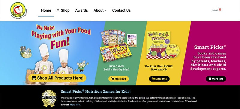 smart picks nutritional books and games for kids - website