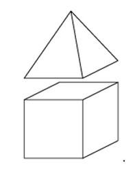 Задача 13 (№ 5553) - К кубу с ребром 1 приклеили правильную четырехугольную пирамиду с ребром 1