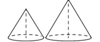 радиус основания и высота, даны два конуса, радиус основания и образующая, два конуса, первого конуса, объём, конус