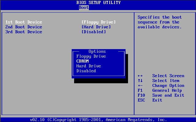 BIOS арқылы Windows XP қайта орнатыңыз