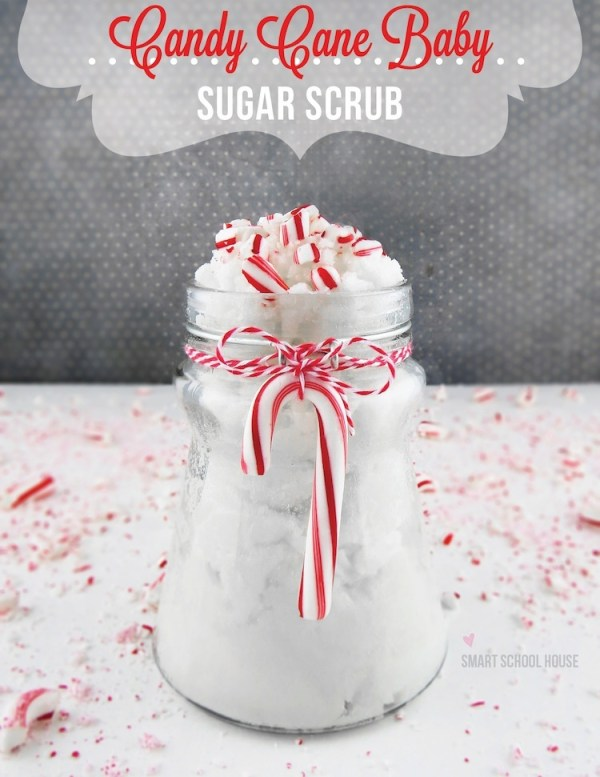 Candy Cane Baby is an easy #DIY sugar scrub that smells just like candy canes! Made with 3 simple and inexpensive ingredients! #handmadegift #sugarscrub