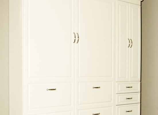 Murphy Bed with Closet Cabinet, Drawers