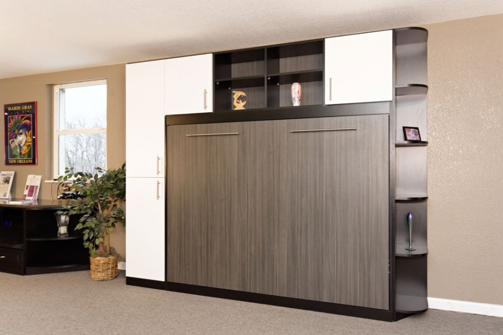 Modern Wall Bed On Murphy Wall Bed With Cabinets And Shelves Modern Designs Smartspacescom