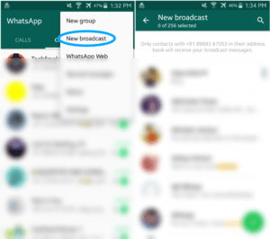 WhatsApp Broadcast feature