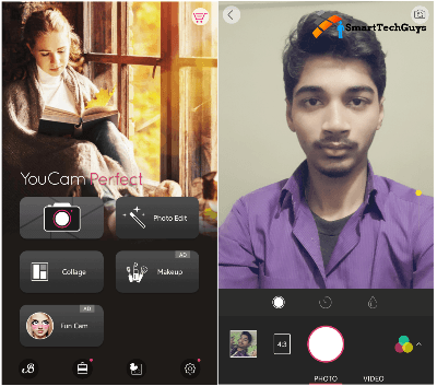 YouCam Perfect Selfie camera Interface