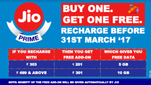 Jio Prime Buy One Get One Free Recharge Offer