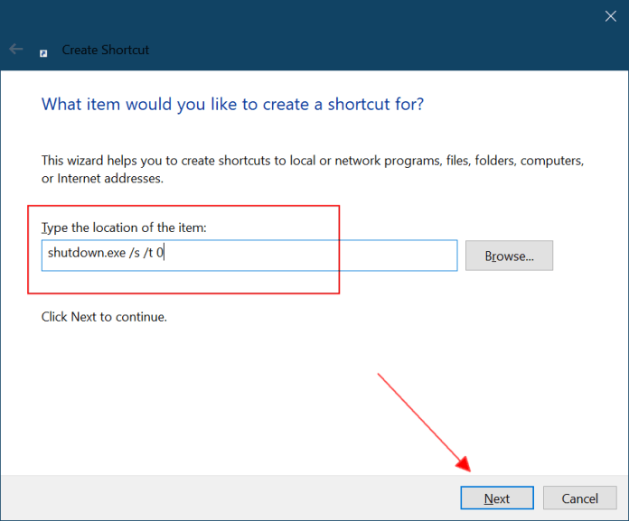 shutdown shortcut on windows 10
