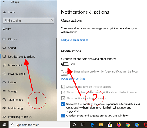 How to Turn Off Notification on Windows 10