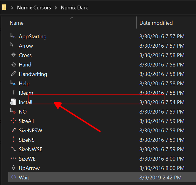 change mouse cursor in Windows 10