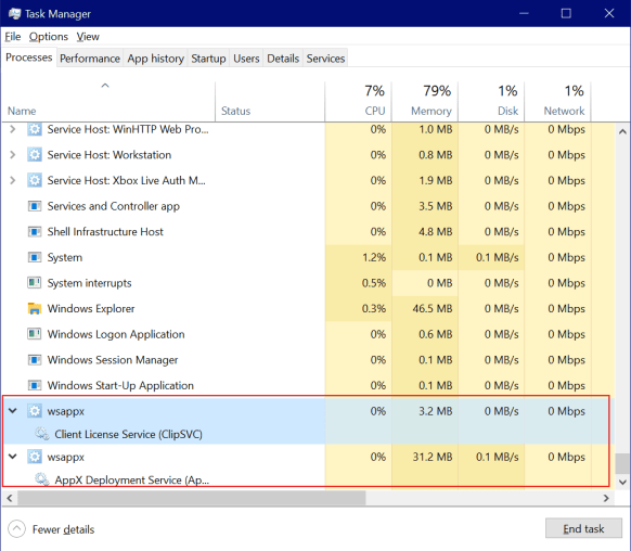 WSAPPX High Disk and CPU Usage