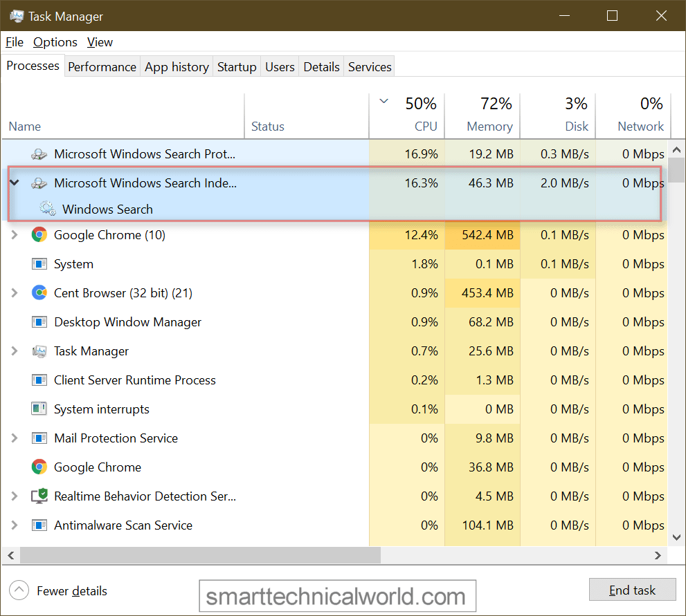 Microsoft Windows Search Indexer High Disk or CPU Usage