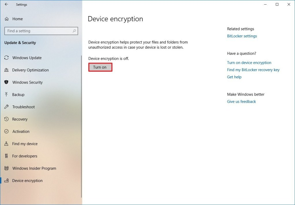 Enable Device Encryption on Windows 10 Home