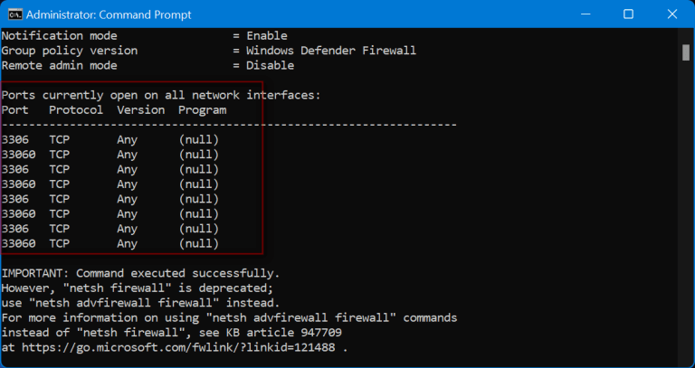 How to check if Windows Firewall blocking a port or program