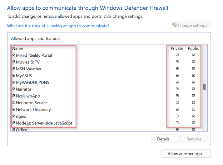 How to check if Firewall if blocking a program