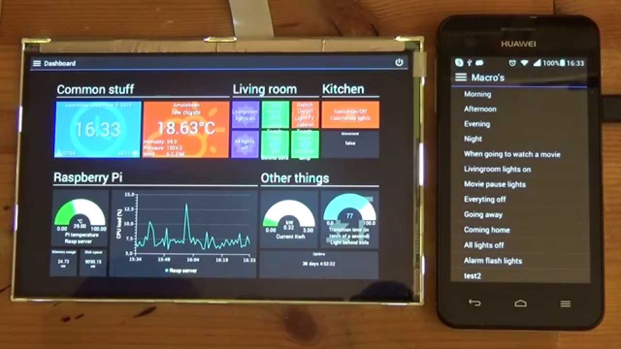PiDome Home Automation client on embedded and mobile