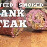 Stuffed and smoked flank steak recipe on the Traeger pellet grill