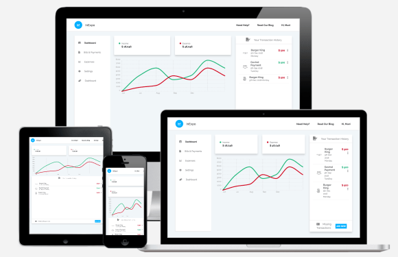 Responsive Expense Manager HTML5, CSS3 Template Using Bootstrap 4 jQuery