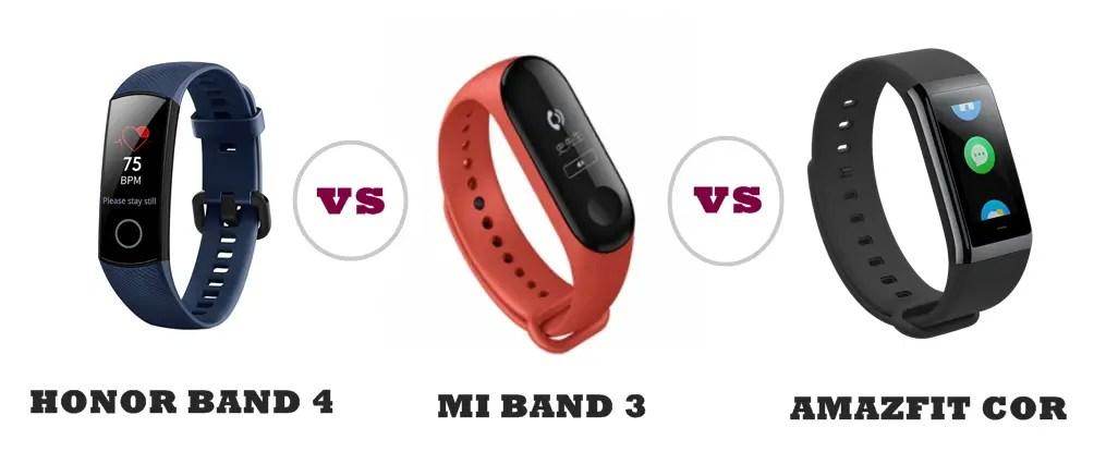 Honor Band 4 vs Amazfit Cor vs Mi Band 3 Compared