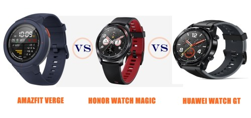 amazfit verge vs honor watch magic vs huawei watch gt compared