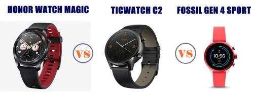 honor watch magic vs ticwatch c2 vs fossil gen 4 sport compared