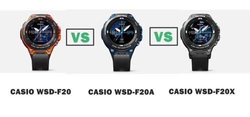 casio wsd-f20 vs wsd-f20a vs wsd-f20x compared
