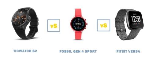 ticwatch s2 vs fossil gen 4 sport vs fitbit versa compared