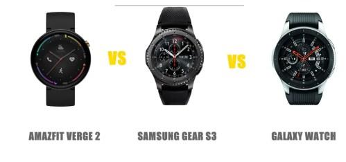 amazfit verge vs samsung gear s3 frontier vs galaxy watch