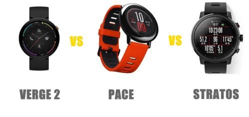 amazfit verge 2 vs pace vs stratos