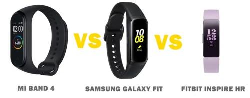 mi band 4 vs samsung galaxy fit vs fitbit inspire HR