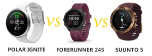 polar ignite vs garmin forerunner 245 vs suunto 5