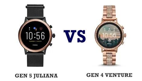 fossil gen 5 juliana vs gen 4 venture compared
