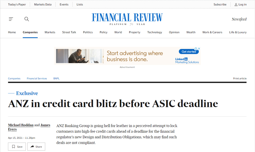 Australian financial review article discussing ANZ's role in credit card debt