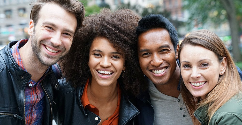 Portrait of multi-ethnic friends in New york millennial brand loyalty