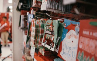Christmas Shopping Xmas Products on Shelves Holidays Merry Retail