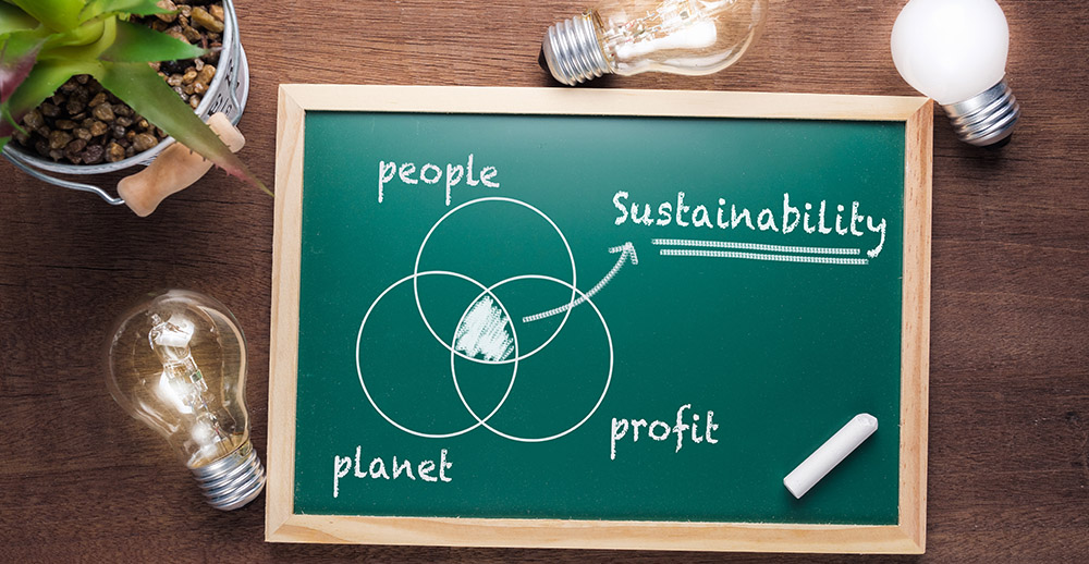Sustainability Chart on Chalkboard sustainability in retail