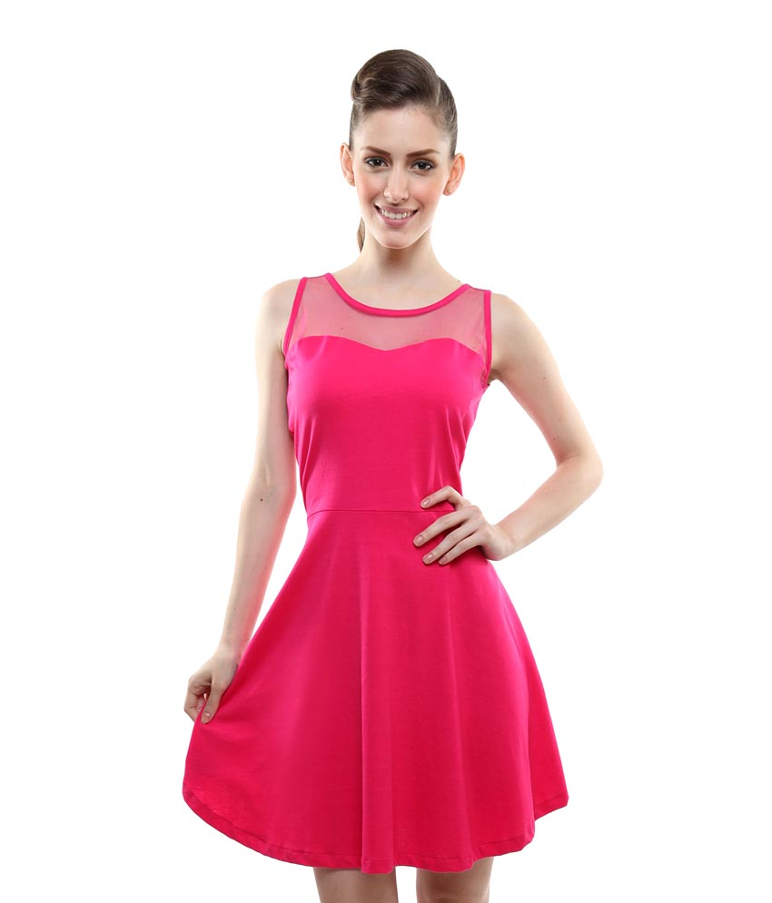 Miss Chase Pink Cotton Mini skater Dresses For Women Sleeveless Round Neck Party Wear