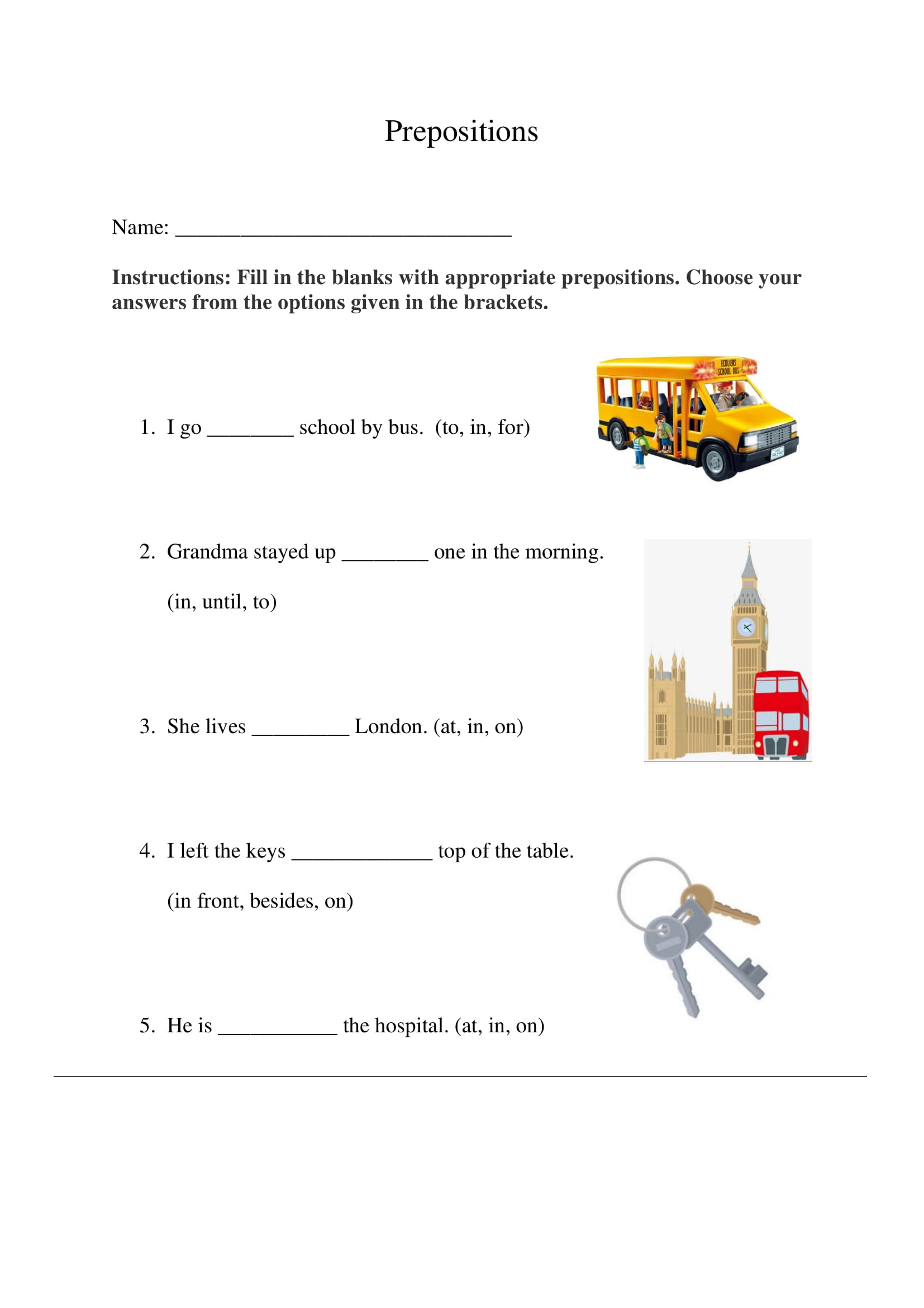 Prepositions Exercise 1