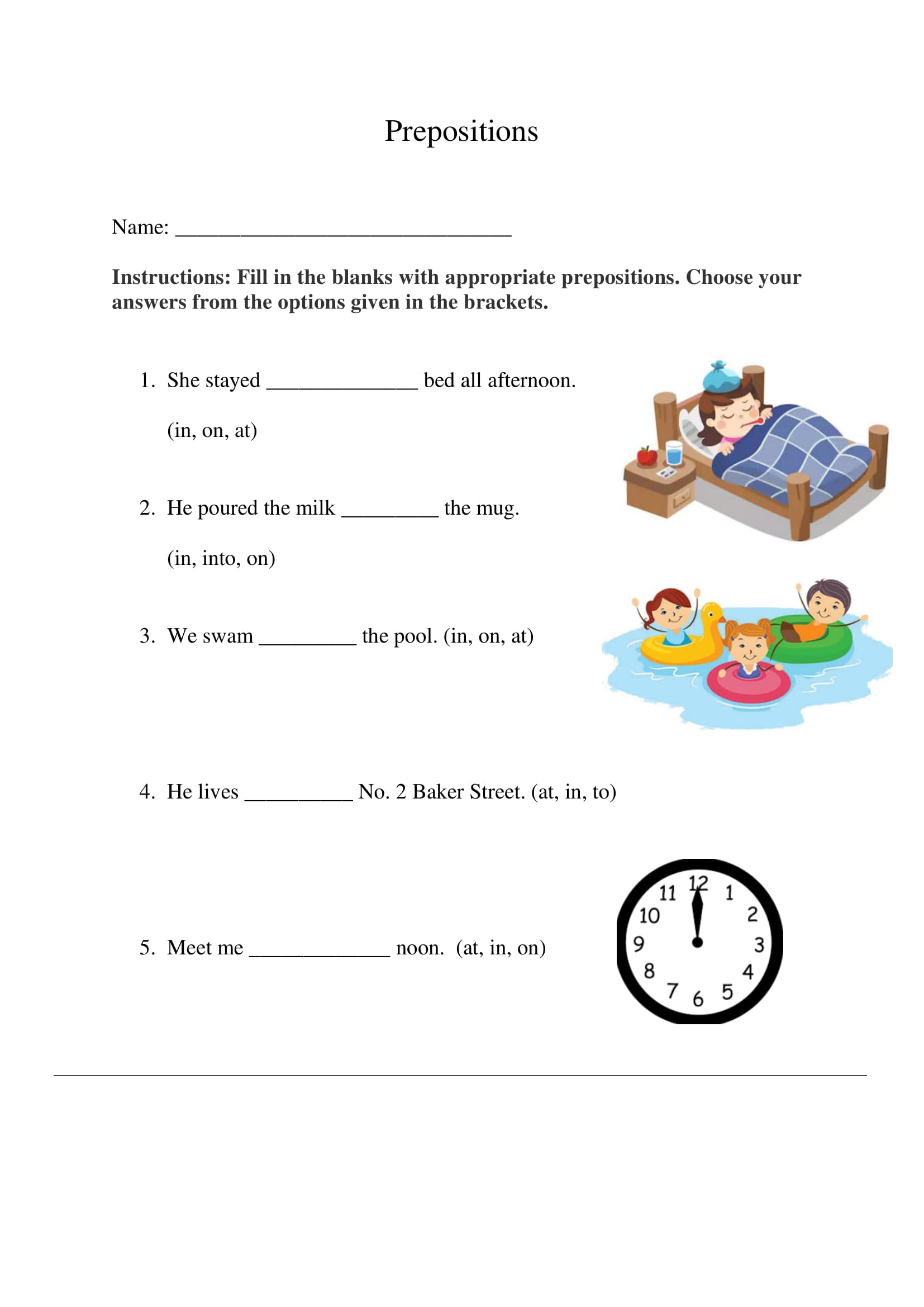 Prepositions Exercise 2