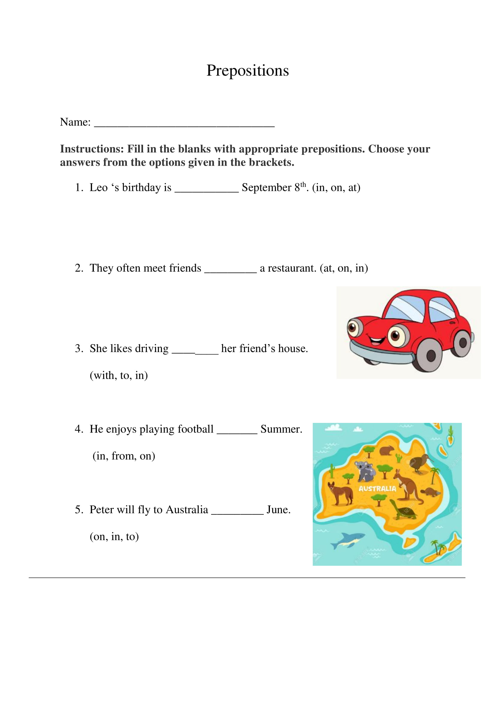 Prepositions Exercise 4