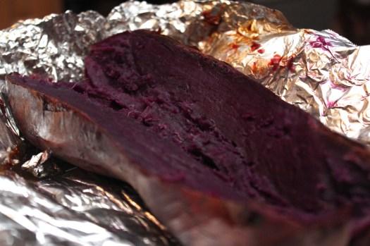 Baked purple sweet potato